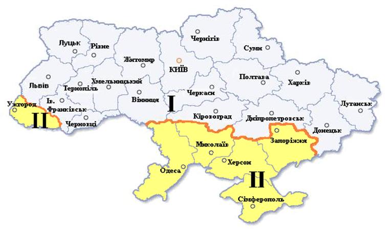 Рис. 2. Карта температурных зон Украины.
