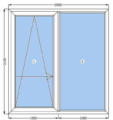 двери на террасу, балкон 2000х2100